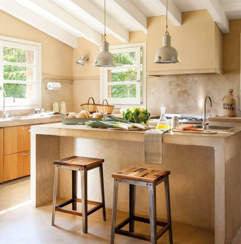 Mueble isla cocina cocina con mobiliario en gris y for Mueble isla de cocina