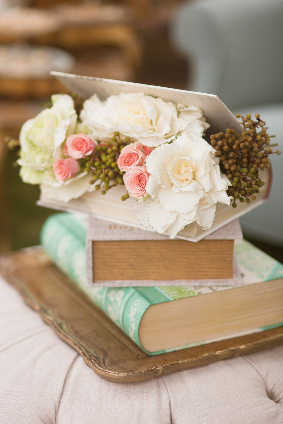 Centro vintage-book-decor-for-wedding-reception. Como un libro abierto