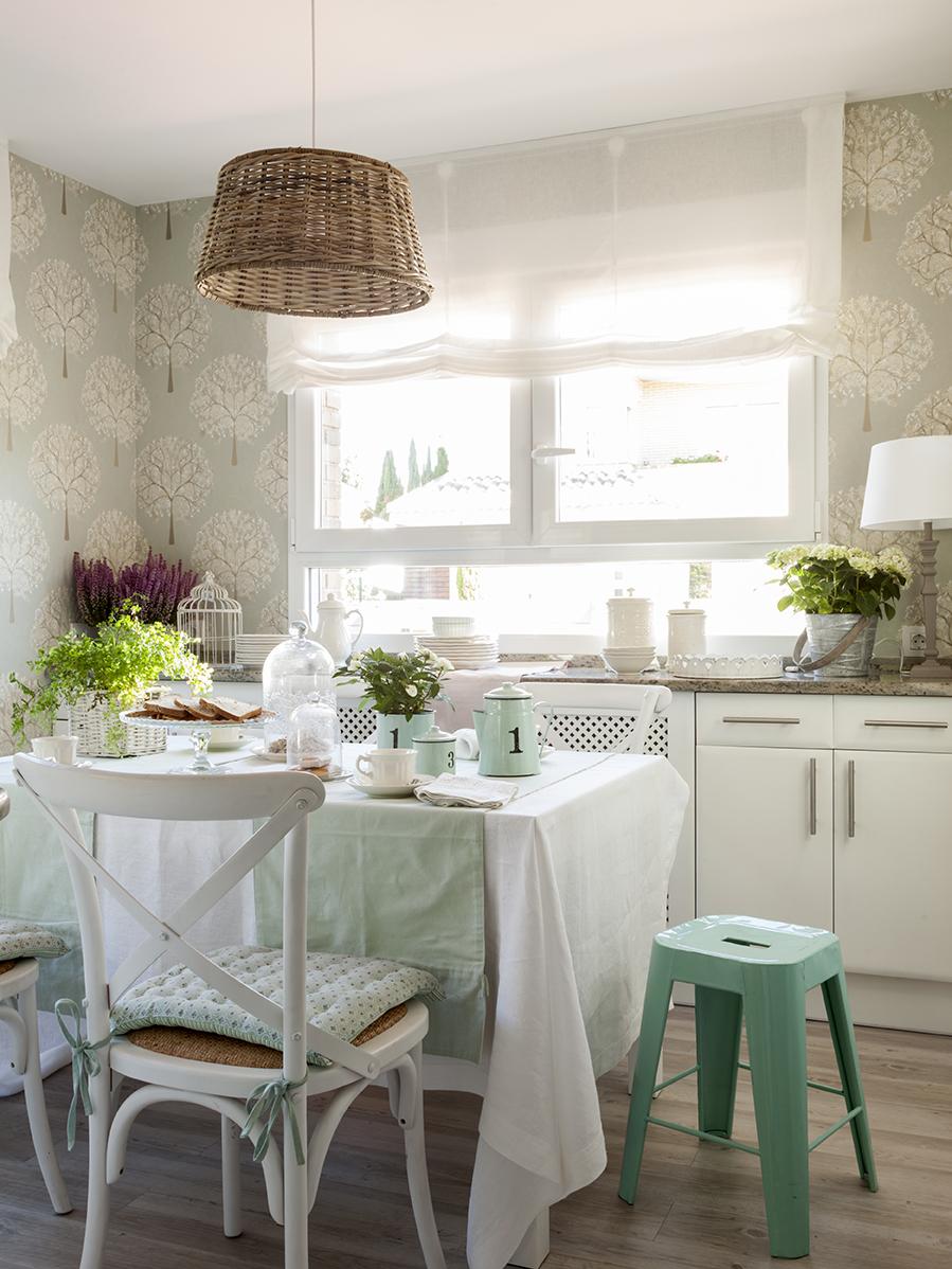 Office decoraci n del office en cocinas el mueble - Papel pintado blanco y gris ...