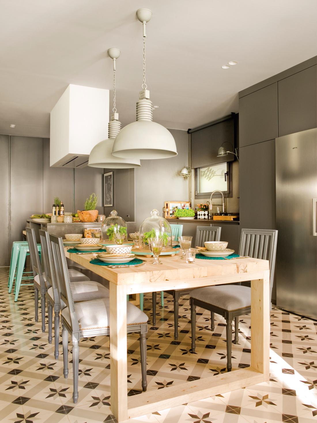 Colores que curan con sus propiedades - Isla de cocina con mesa ...