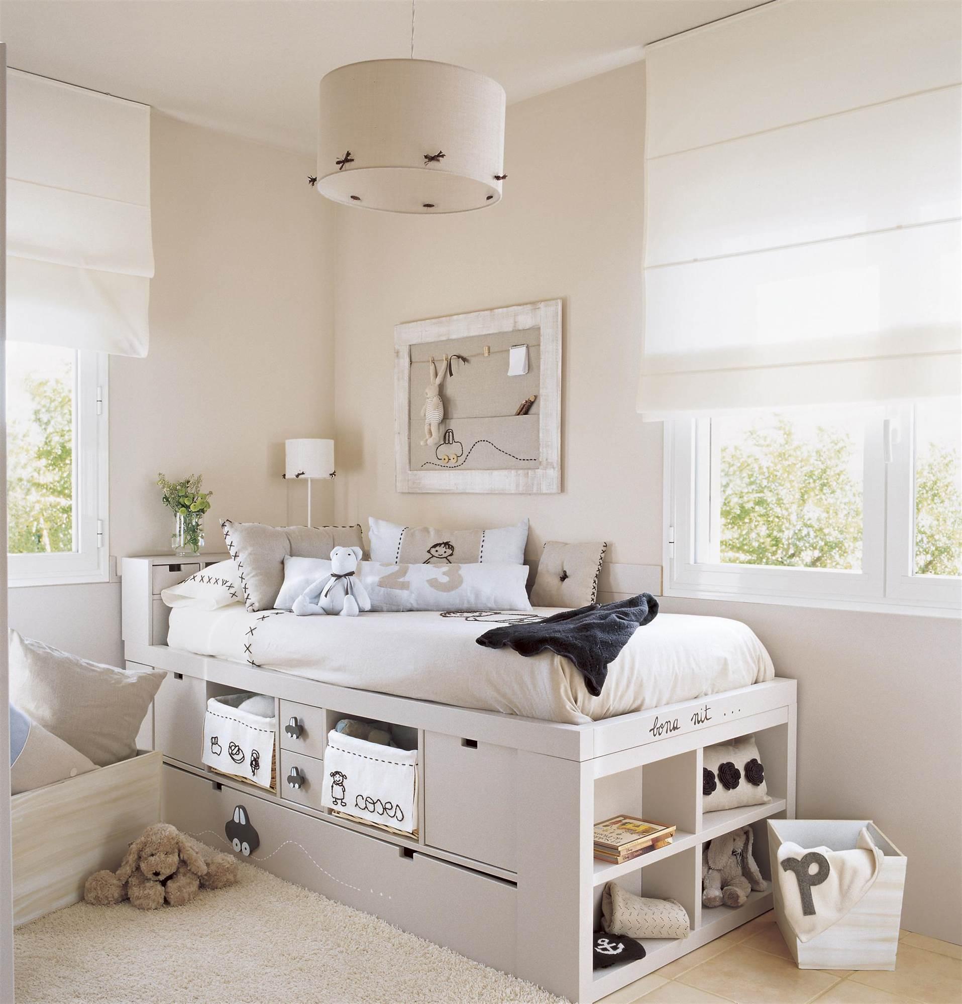 Soluciones para cuartos de ni os peque os for Dormitorios decorados en gris