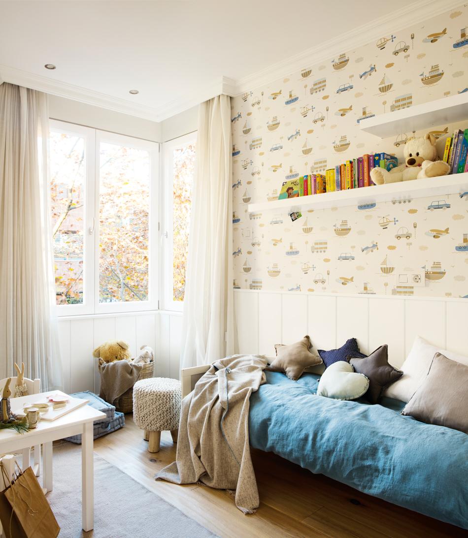 Soluciones para cuartos de ni os peque os - Habitaciones con papel pintado y pintura ...