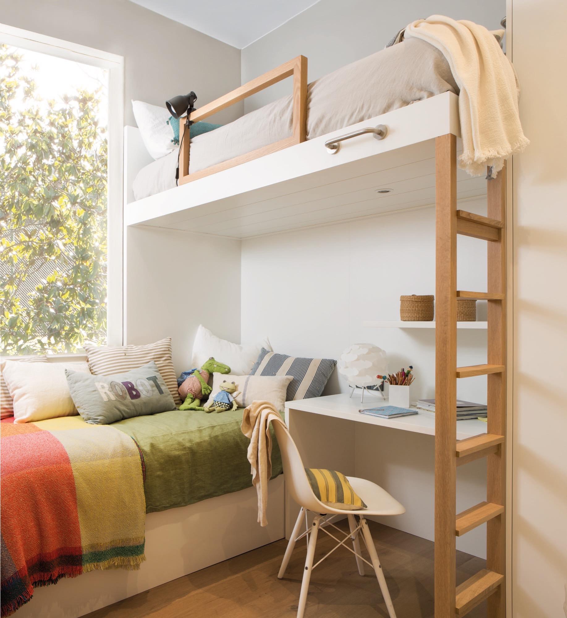 Un piso peque o y muy primaveral - Como poner dos camas en una habitacion pequena ...
