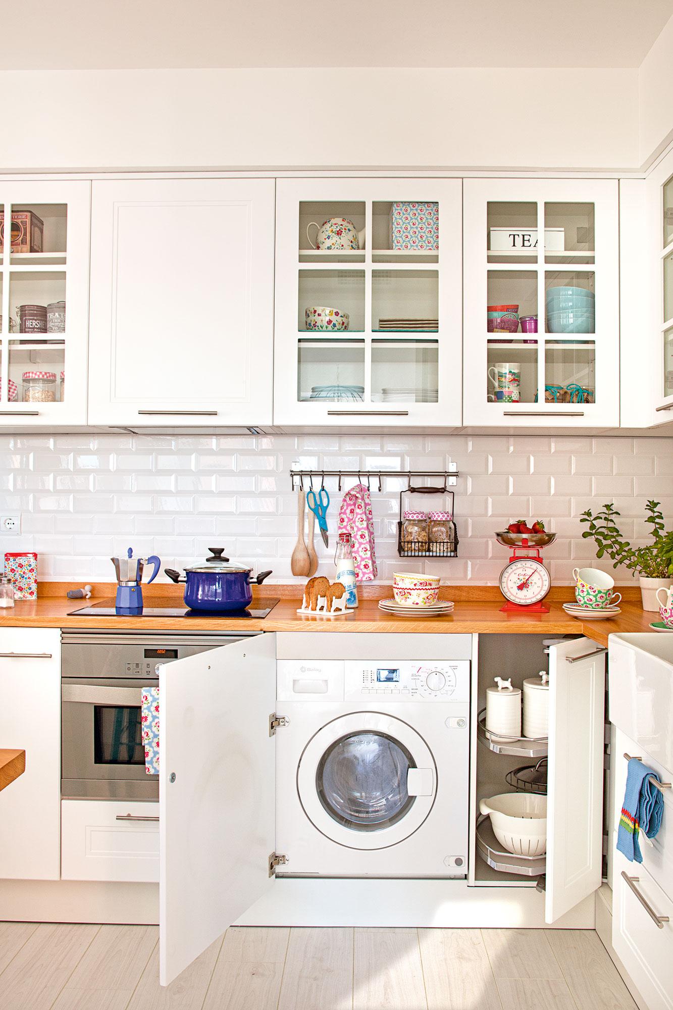 D nde poner la lavadora en casa - Cocinas con encimeras de madera ...
