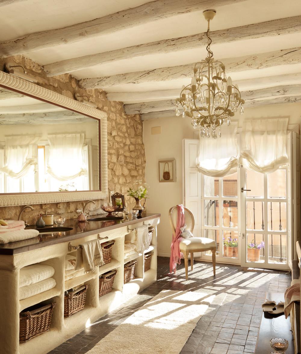 12 ba os r sticos para inspirarte - Como hacer un mueble de bano rustico ...