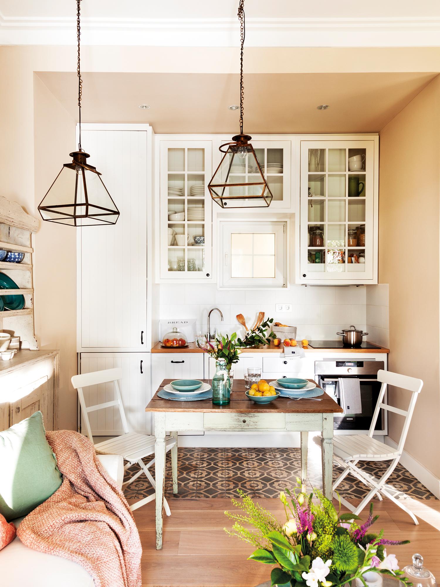 Cocinas peque as en un solo frente - Mesa de cocina pequena ...