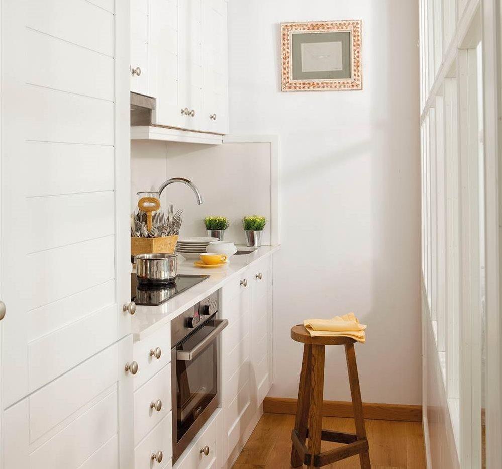 Cocinas peque as en un solo frente - Cocinas blancas pequenas ...