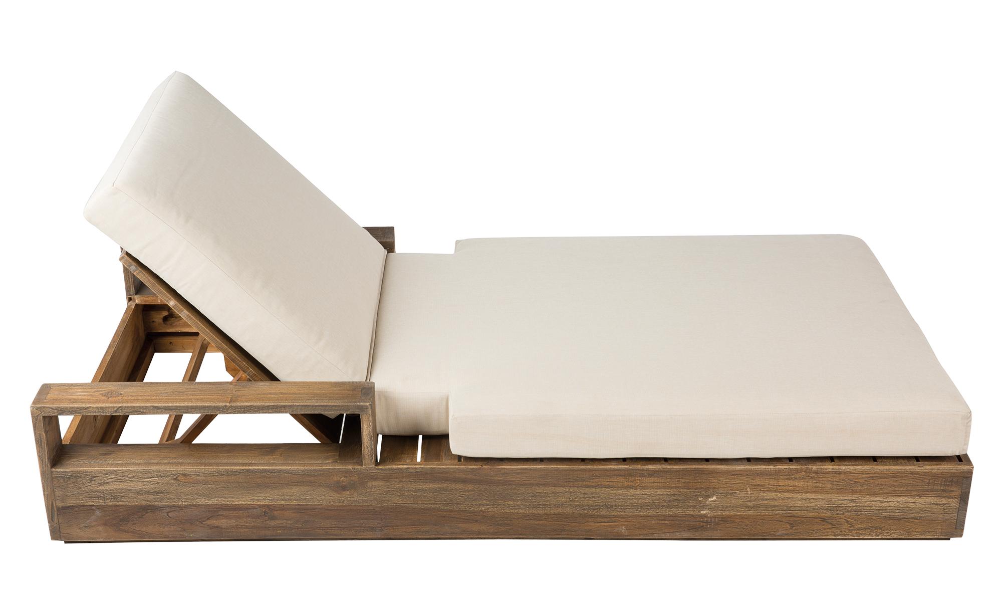 tumbona de madera con colchoneta blanca - Tumbonas Madera