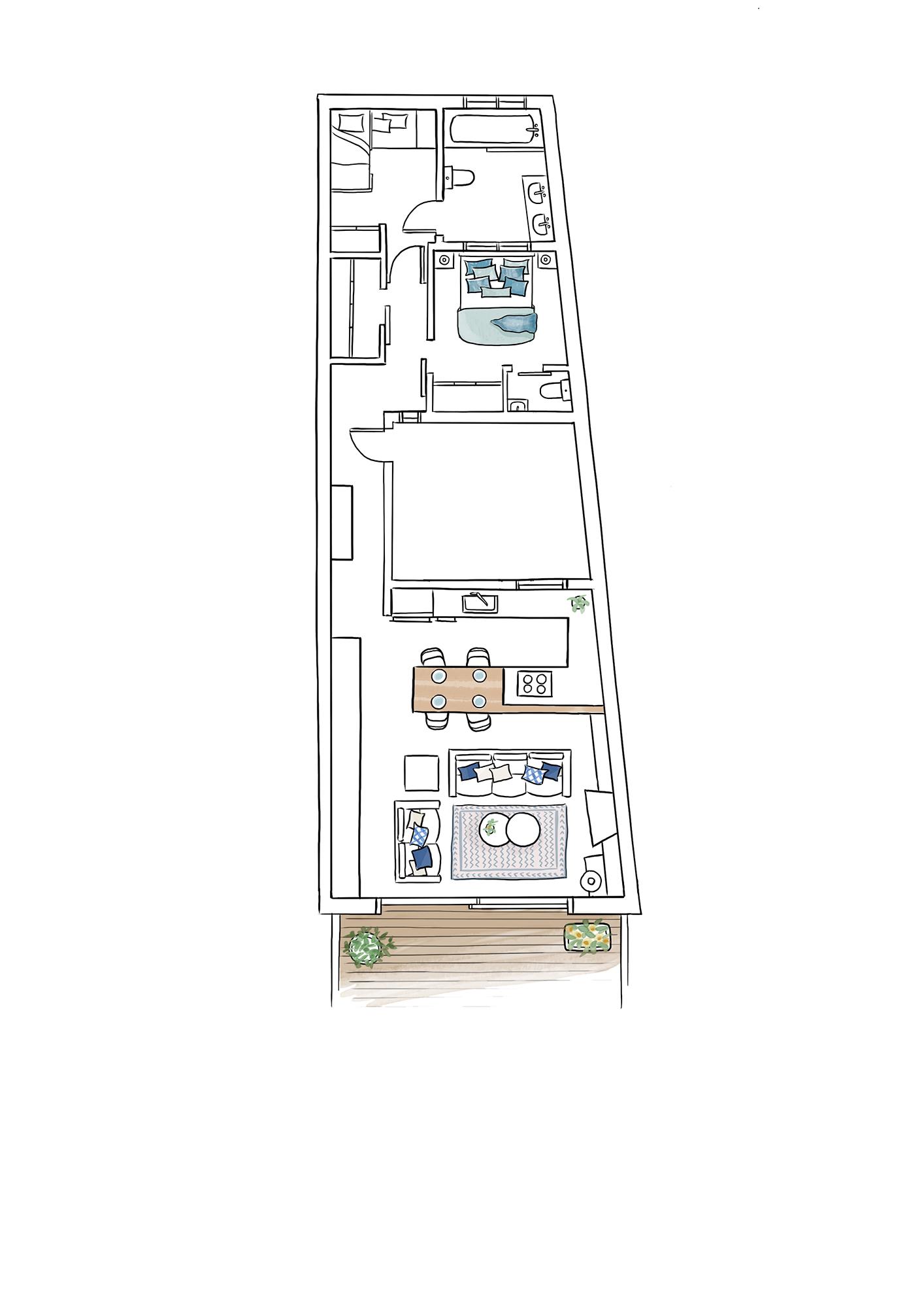 entrega plano begur copia-1. Plano de la casa con una distribución alargada y estrecha