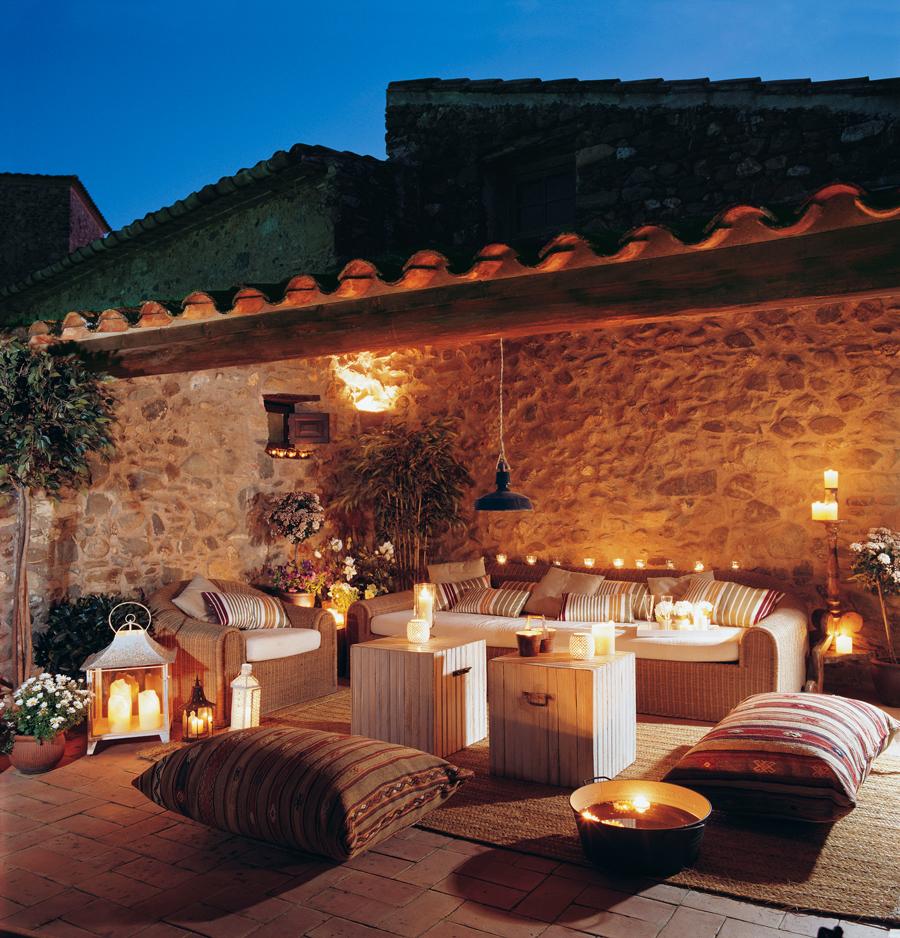 C mo decorar la terraza o el porche por la noche - Luces de ambiente ...