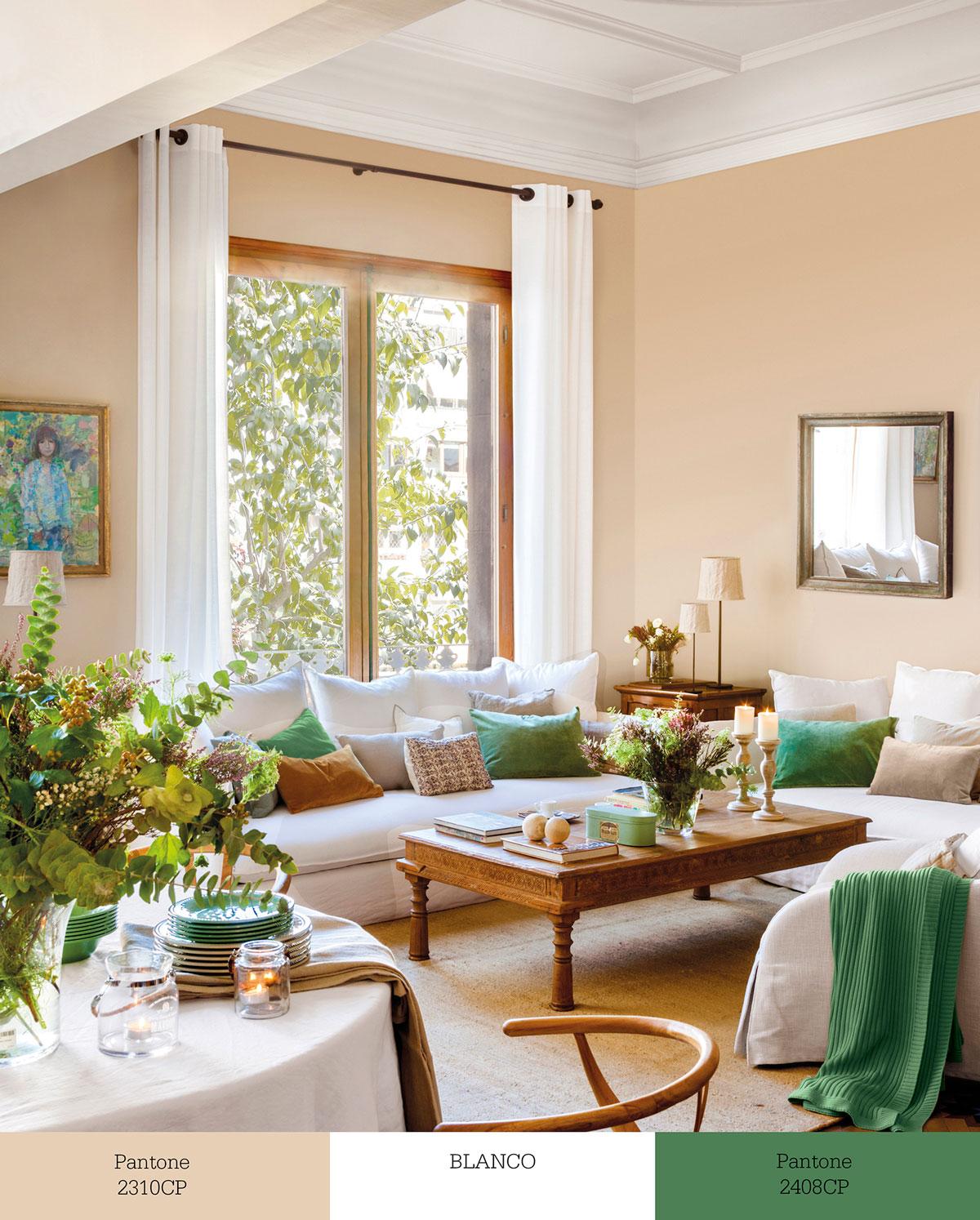 Tr os de colores que transforman tu sal n for Decorar casa con muebles verdes