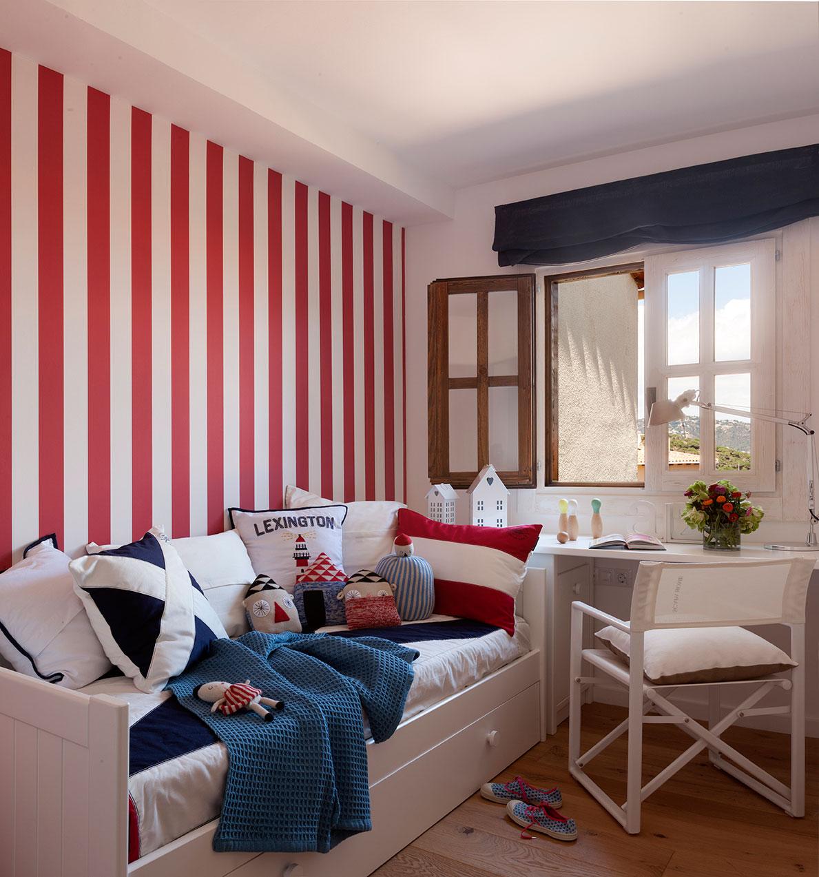 Ideas para pintar la habitaci n de los ni os for Muebles pintados a rayas