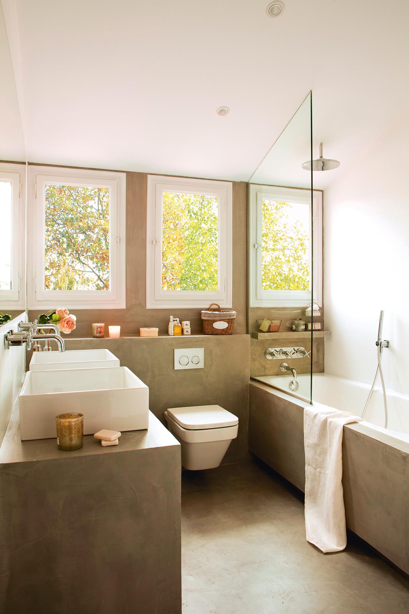 Sanitarios claves para elegir el lavamanos y el inodoro for Pared de bano de concreto encerado