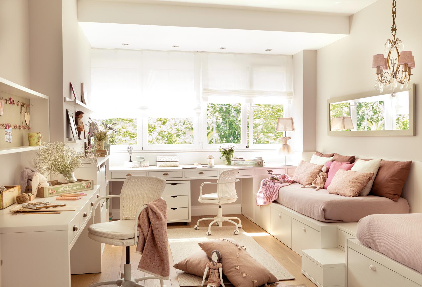 15 habitaciones para estudiar - Dormitorios infantiles blancos ...