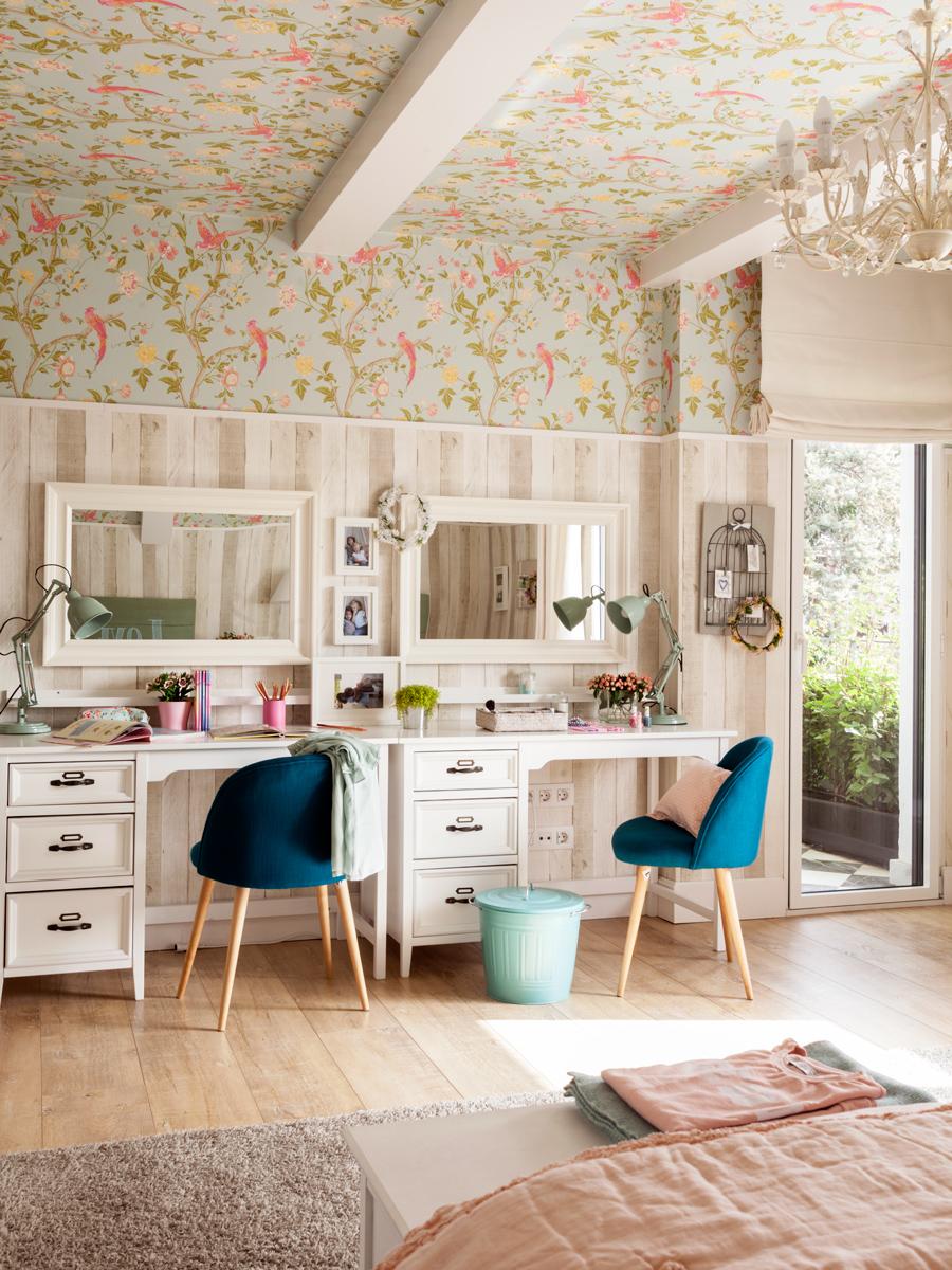 15 habitaciones para estudiar - Habitacion con papel pintado ...