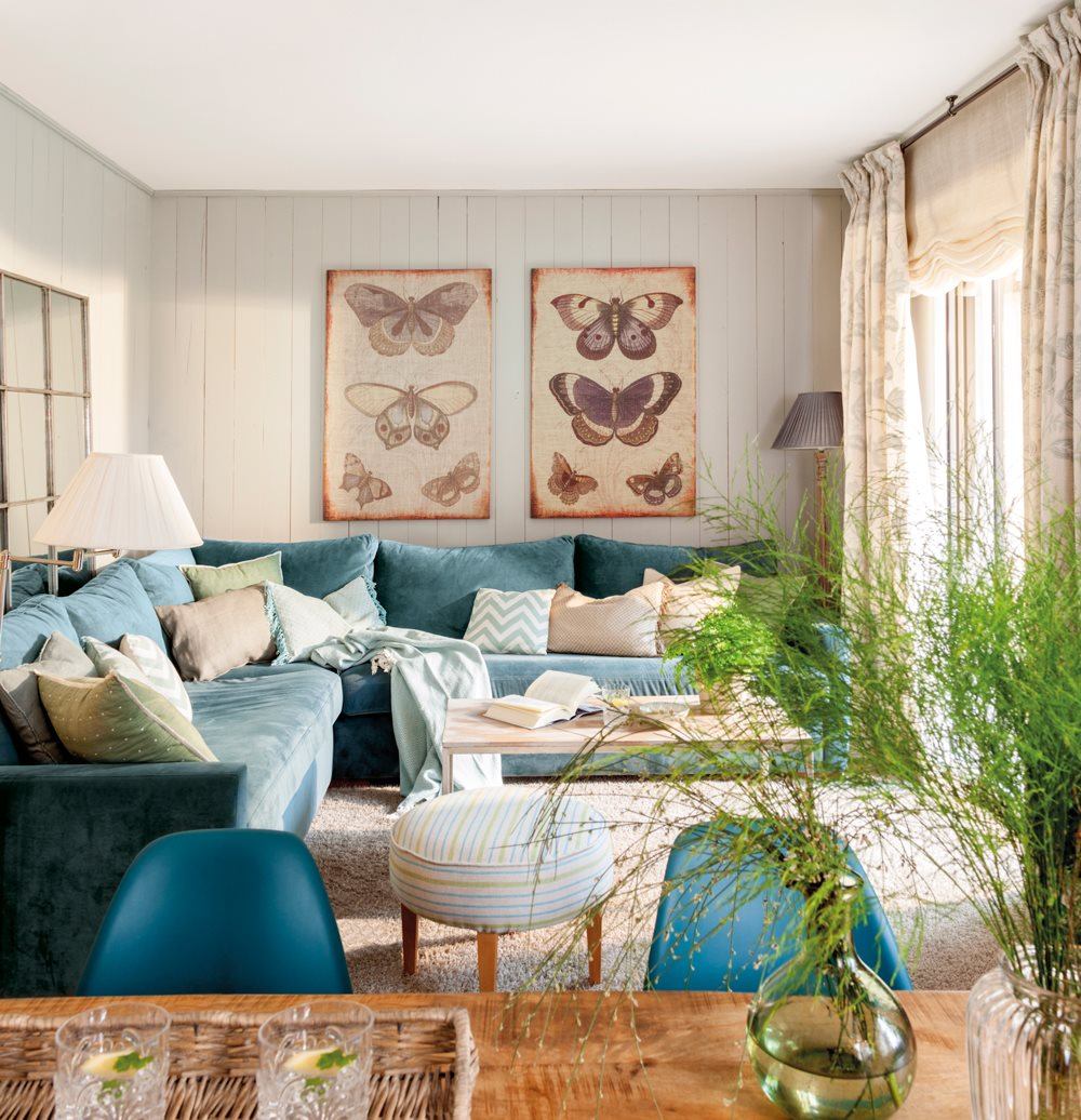 Salones con toques en verde y azul for Salones acogedores