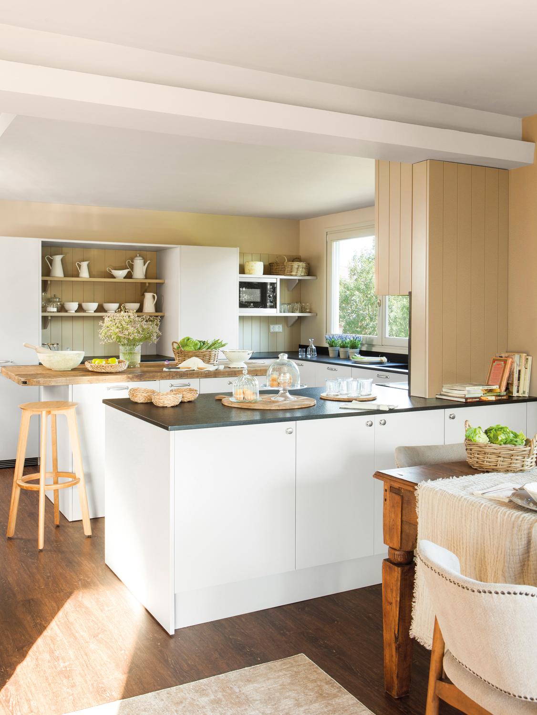 Cocinas muebles decoraci n dise o blancas o peque as - Cocinas con peninsula ...