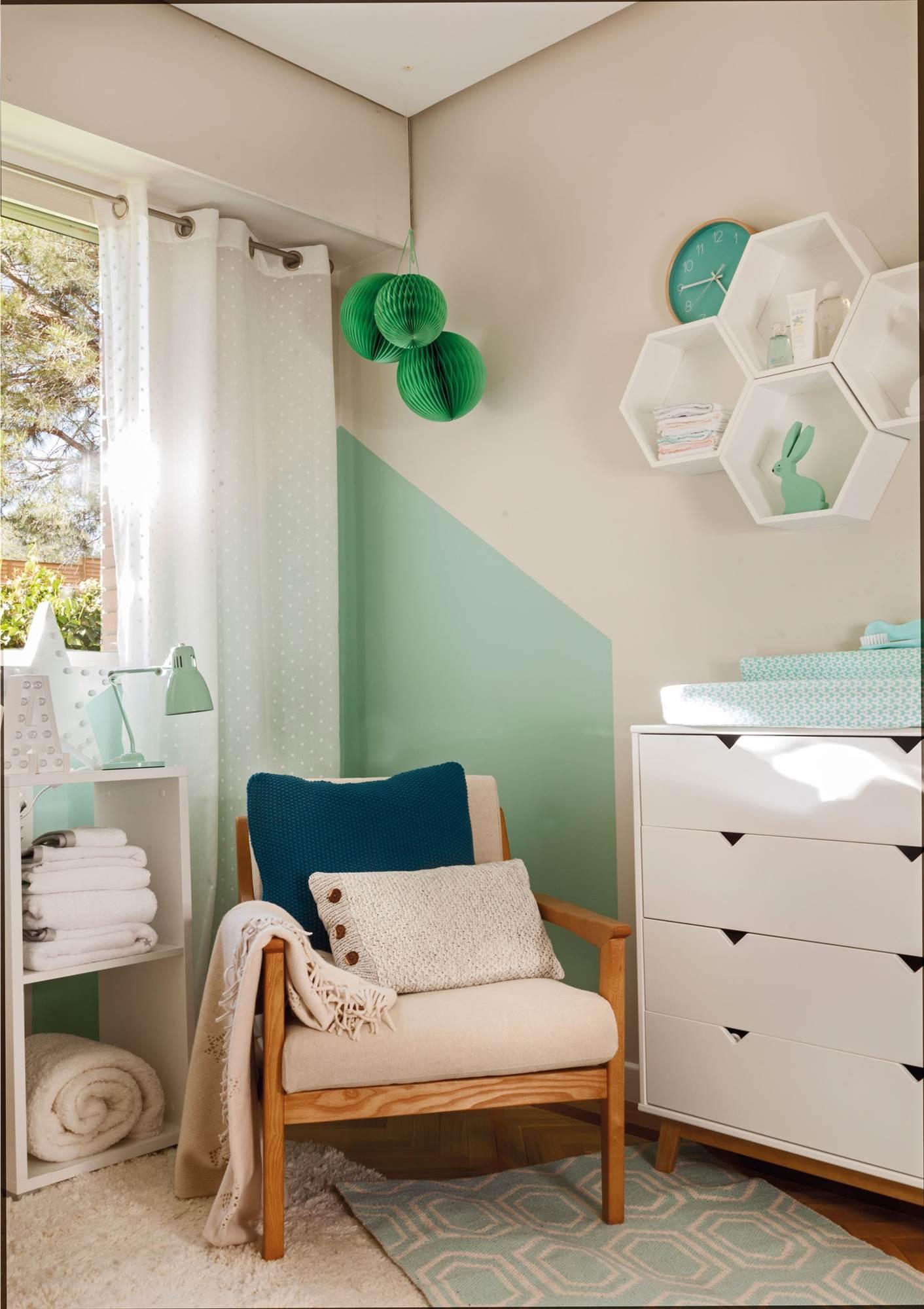 Dormitorios para bebe decoracion cuarto infantile pequeo - Dormitorio verde ...
