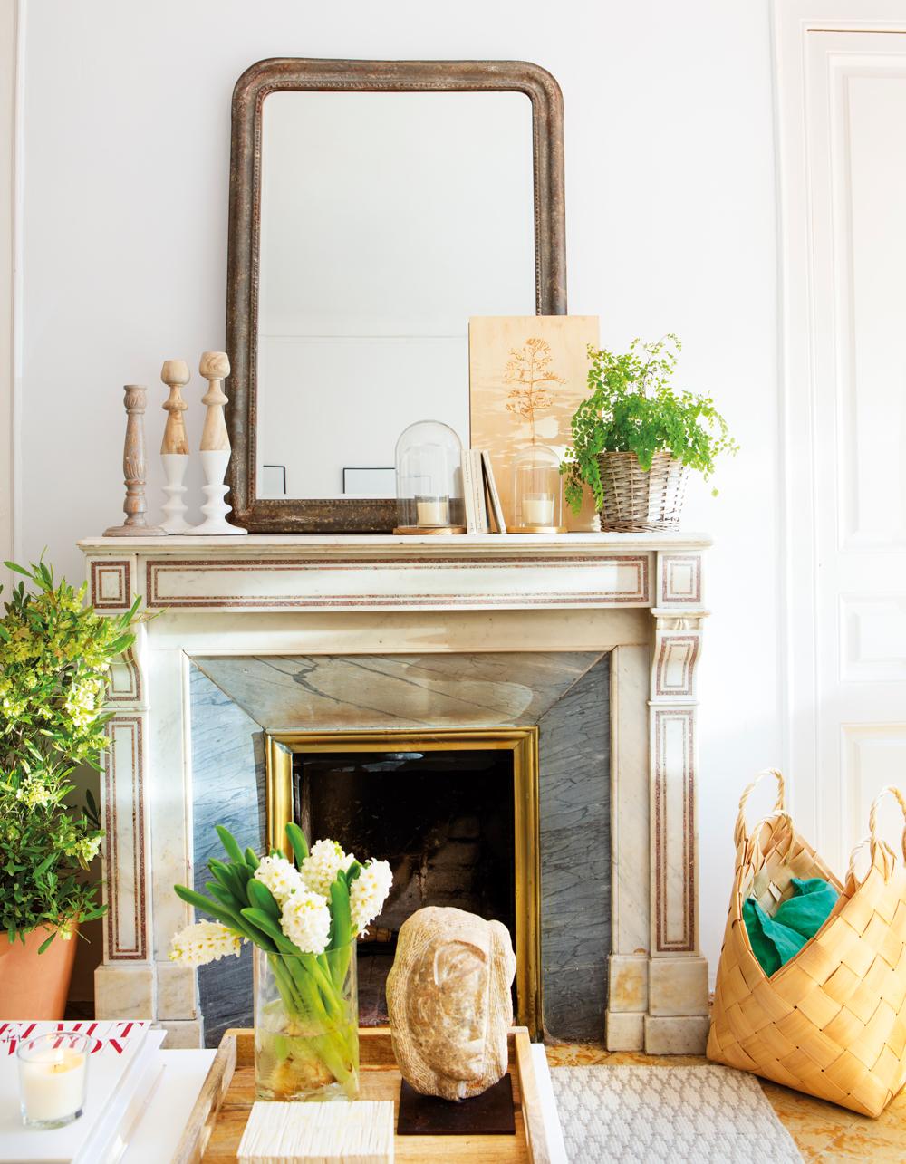 9 chimeneas muy bien decoradas for Marmol color madera