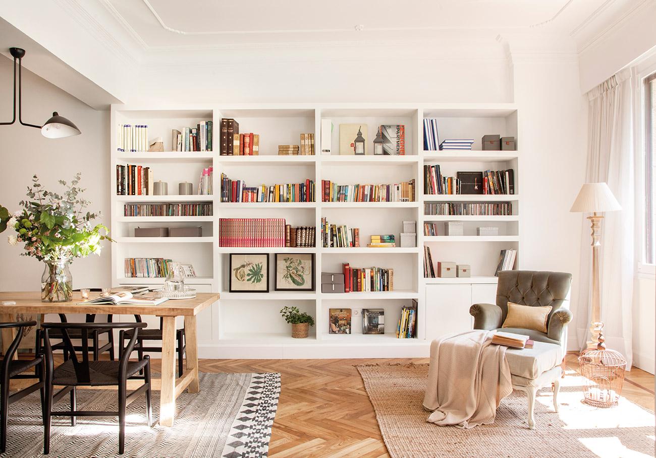 Ideas para sacar el m ximo partido a un piso peque o - Libreria para salon ...