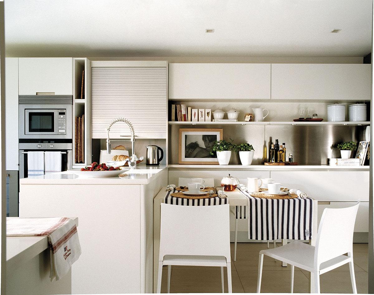 Ideas para aprovechar el espacio en las cocinas peque as - Mueble alto microondas ...