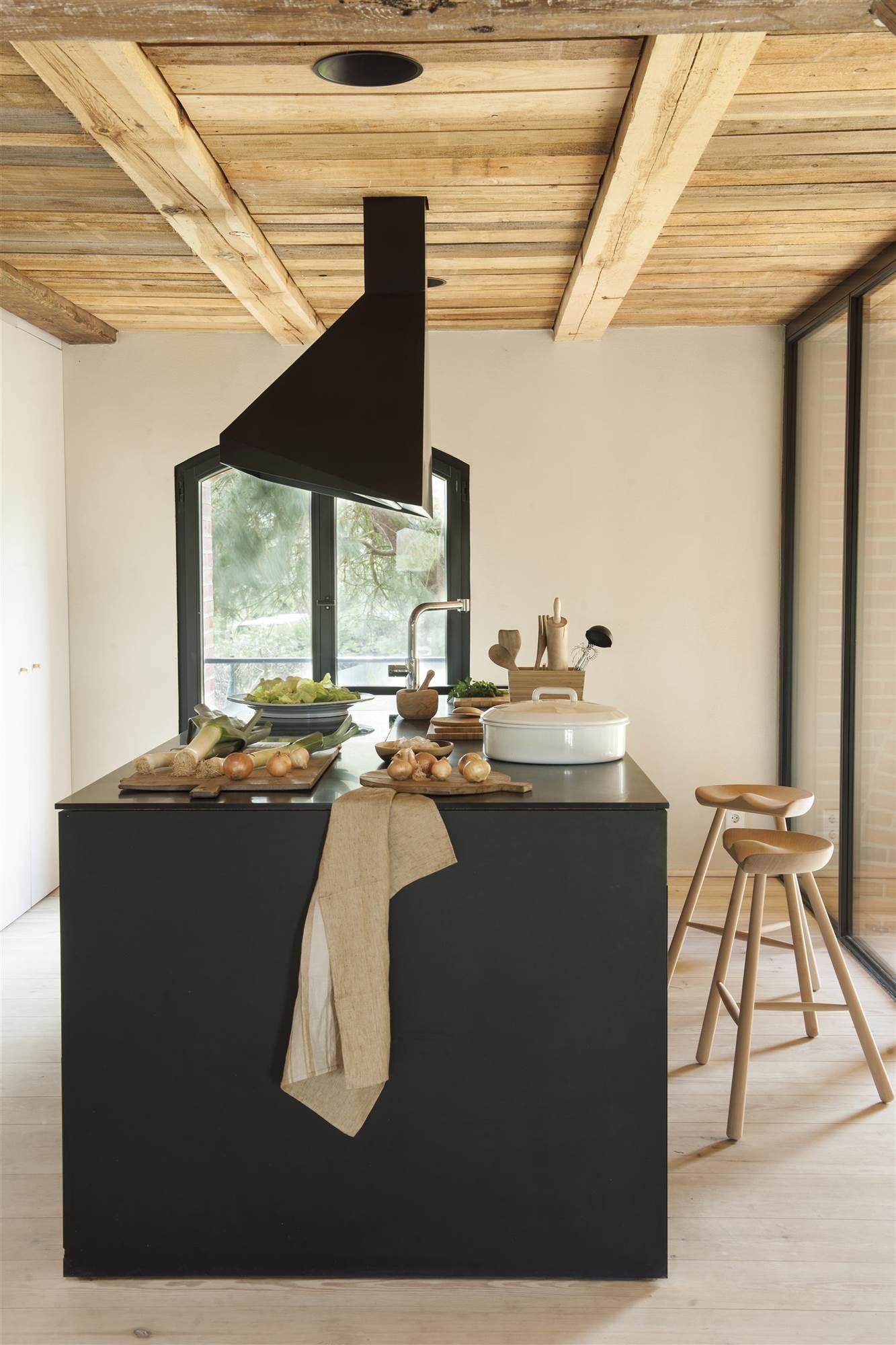 Muebles en pareja con qu color combina mejor la madera for Cocina con electrodomesticos de color negro