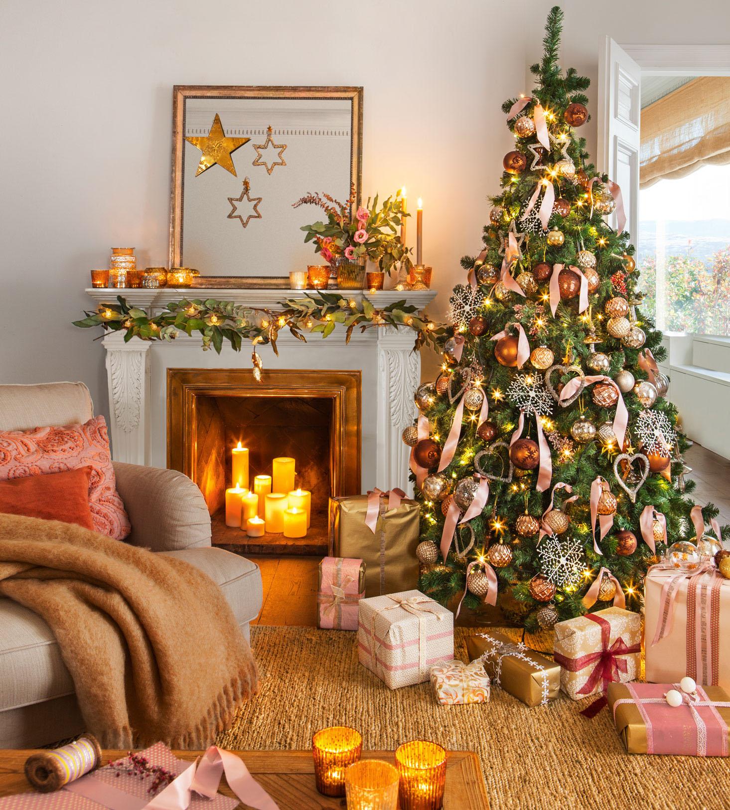 70 fotos de rbol de navidad - Chimeneas decoradas para navidad ...