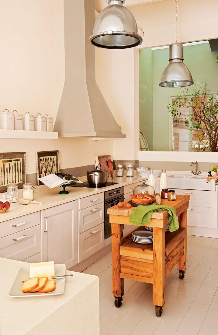 Cocinas muebles decoraci n dise o blancas o peque as for Isla cocina con ruedas