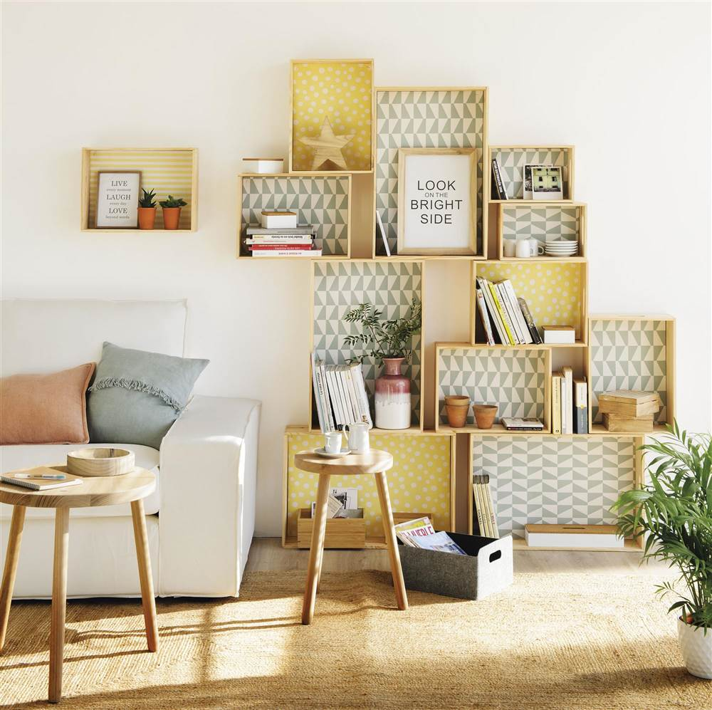 Diy muebles con cajas de madera vintage - Decoracion con cajas ...