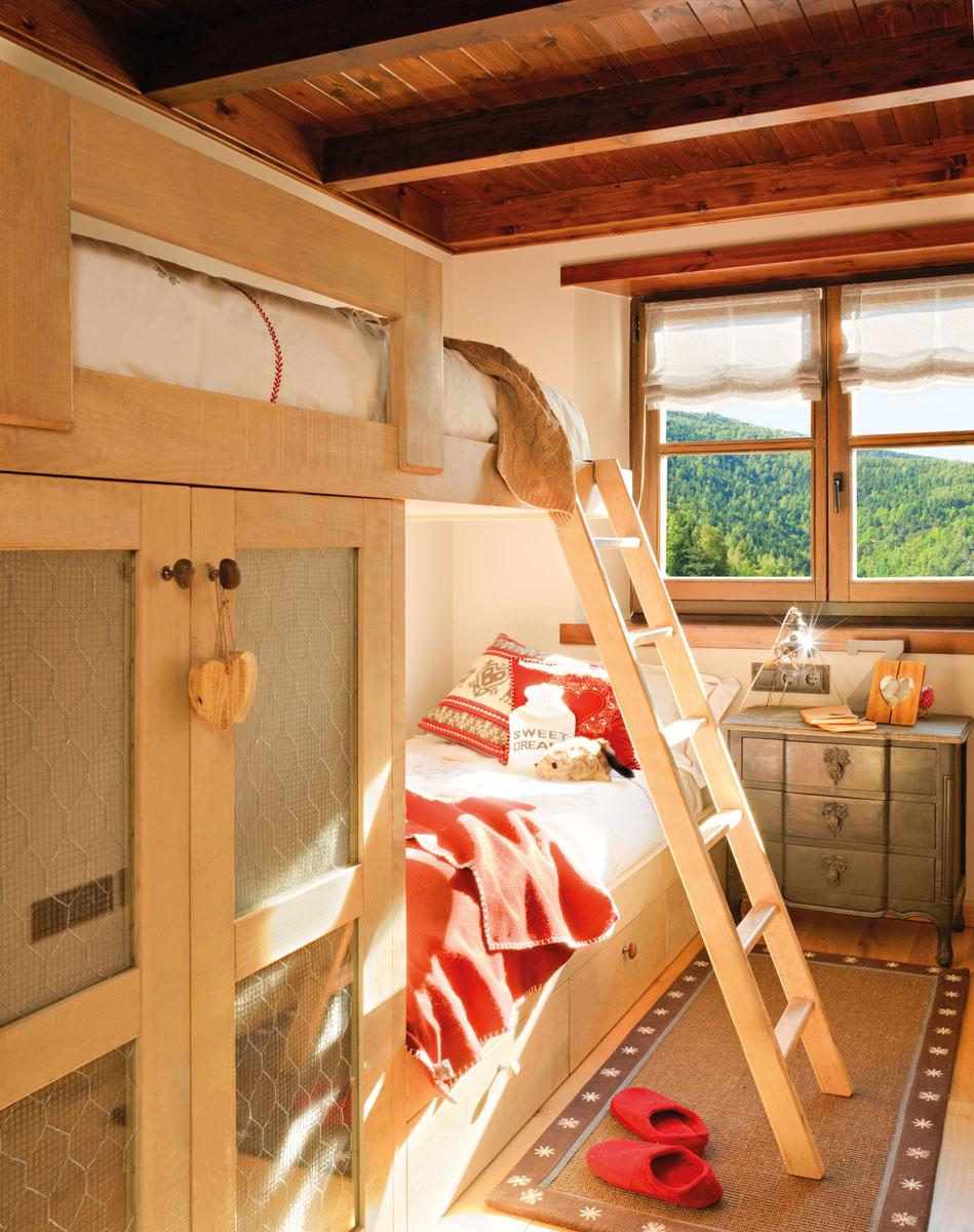 10 dormitorios infantiles r sticos - Literas tipo tren medidas ...