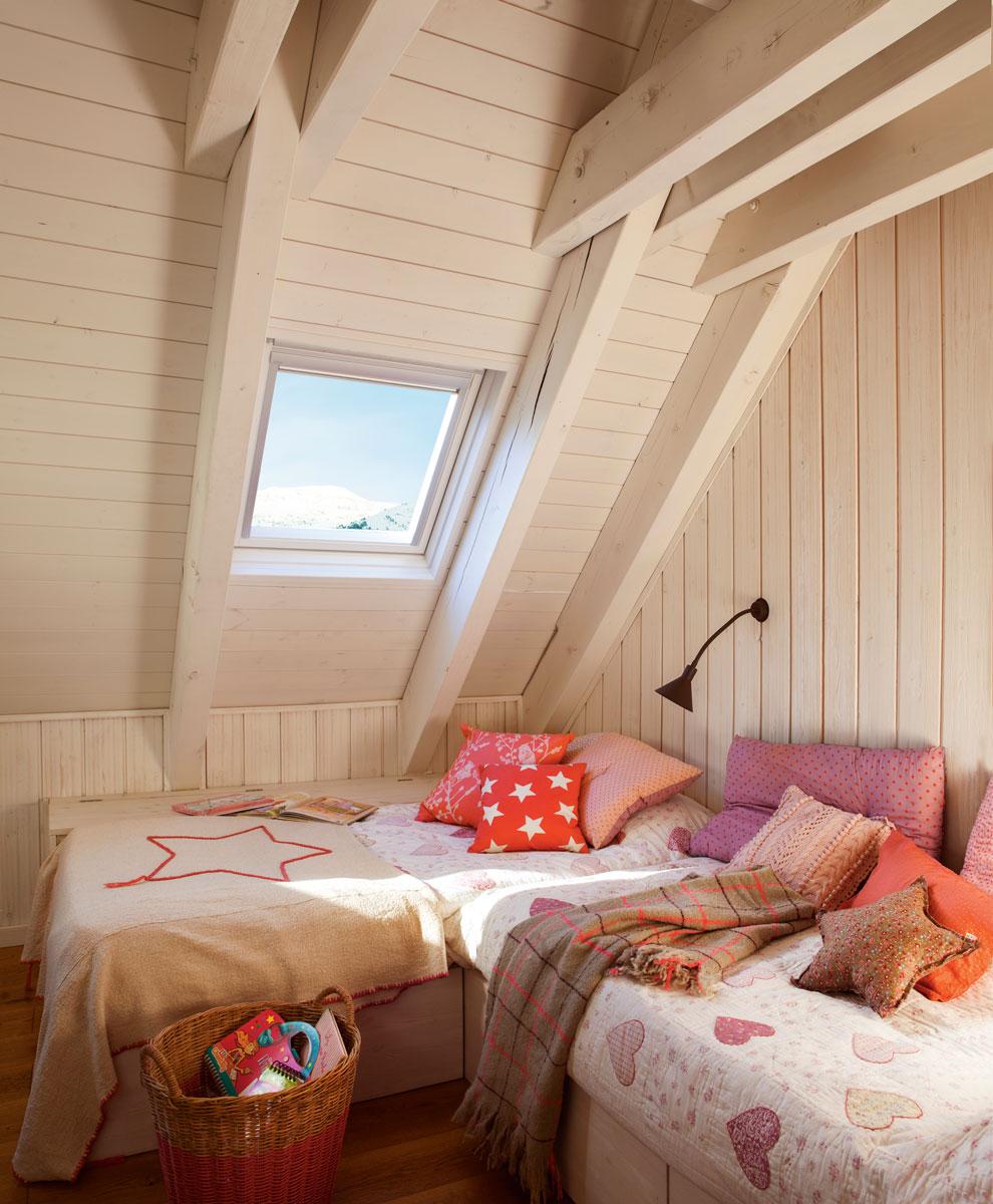 10 dormitorios infantiles r sticos - Cama con techo de tela ...