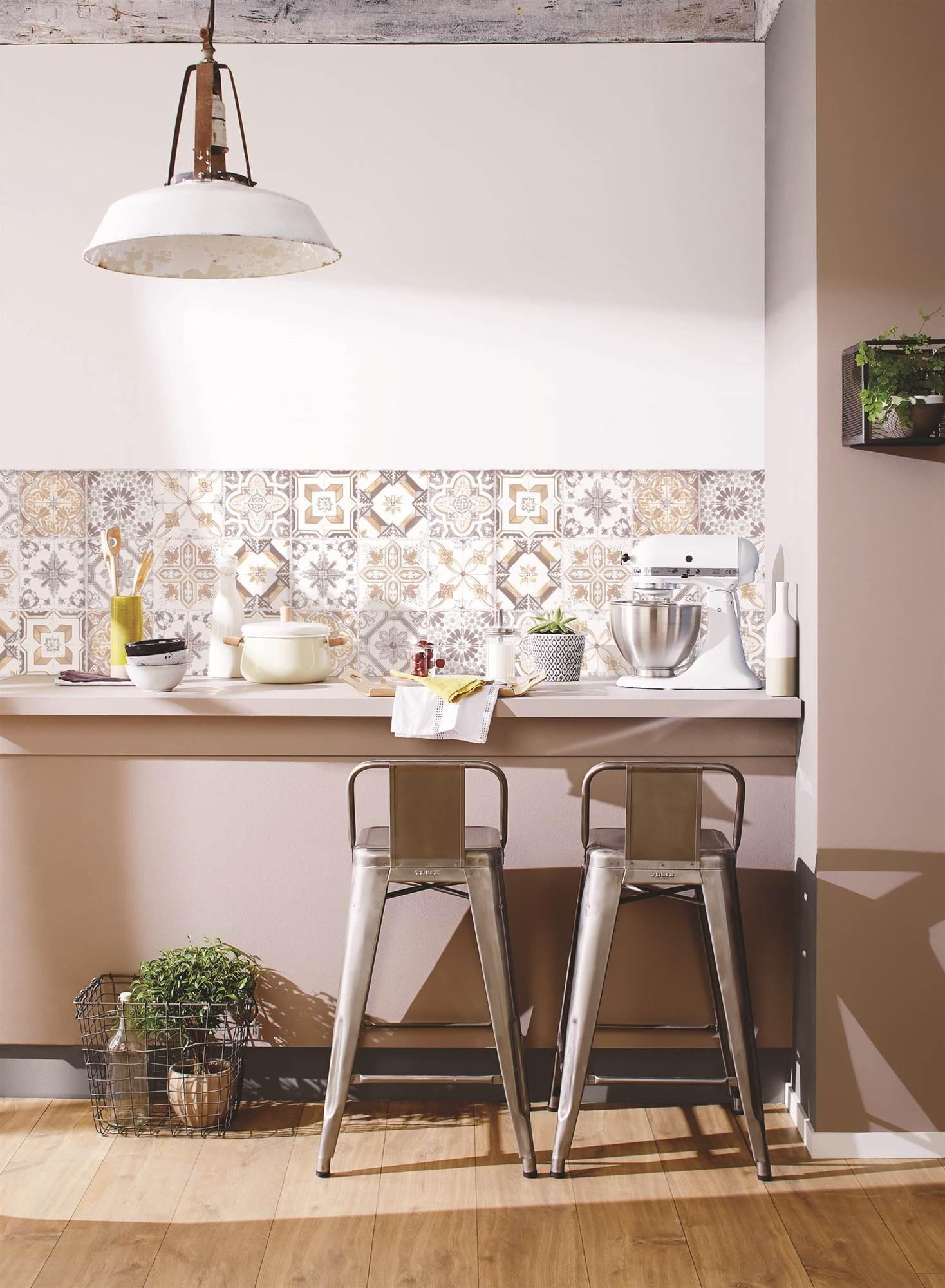 Cocinas muebles decoraci n dise o blancas o peque as elmueble - Papel pintado en cocina ...