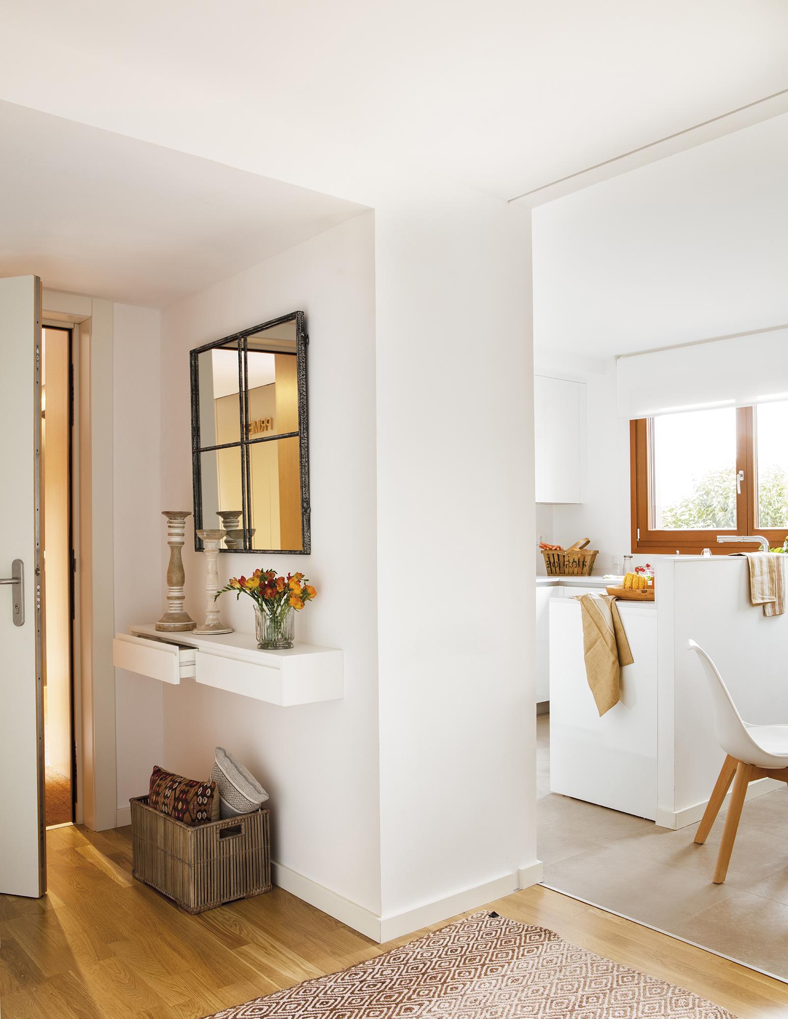 Un piso de color blanco y arena muy acogedor - Papel pintado para recibidores ...
