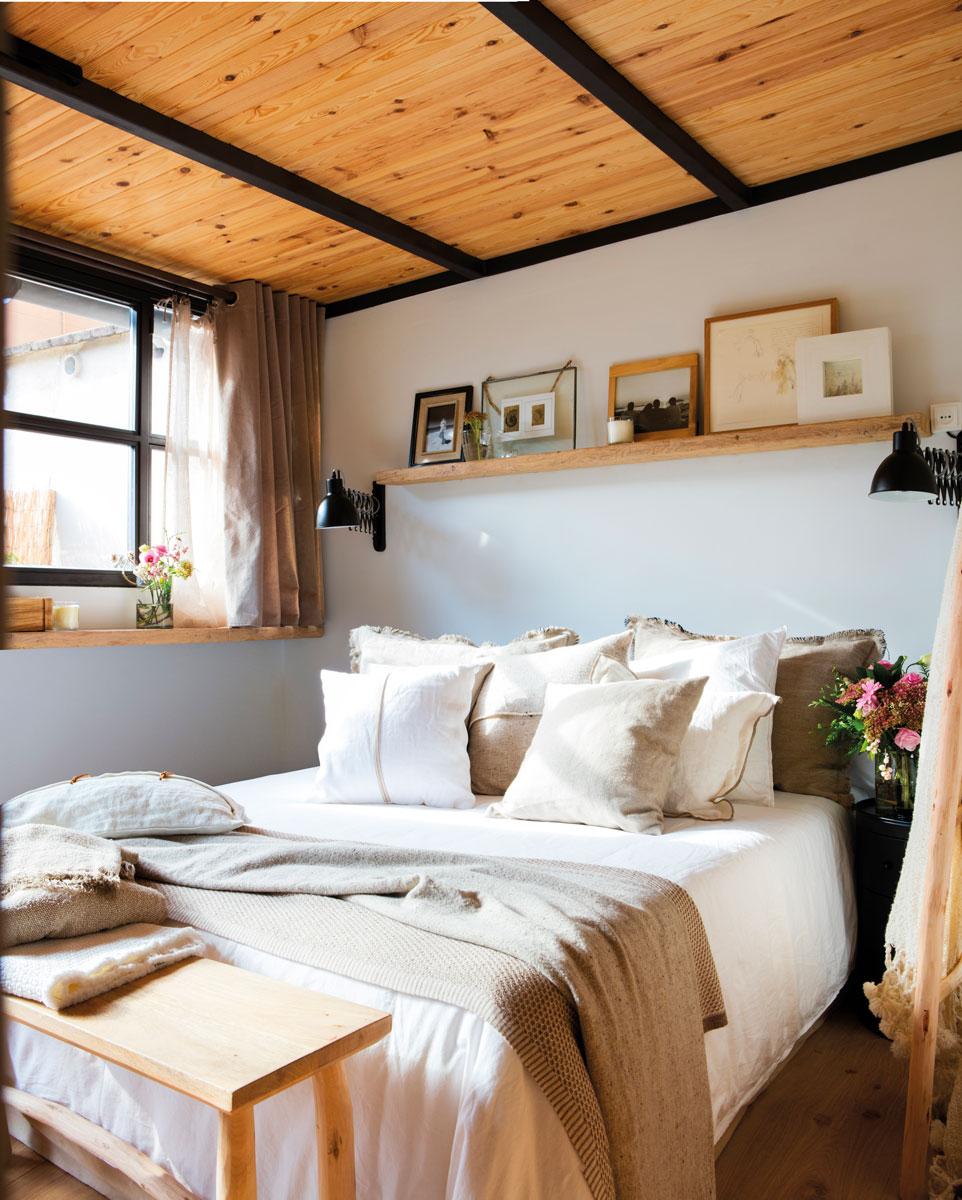 Dormitorios en blanco y madera for Dormitorio para padres en blanco y negro