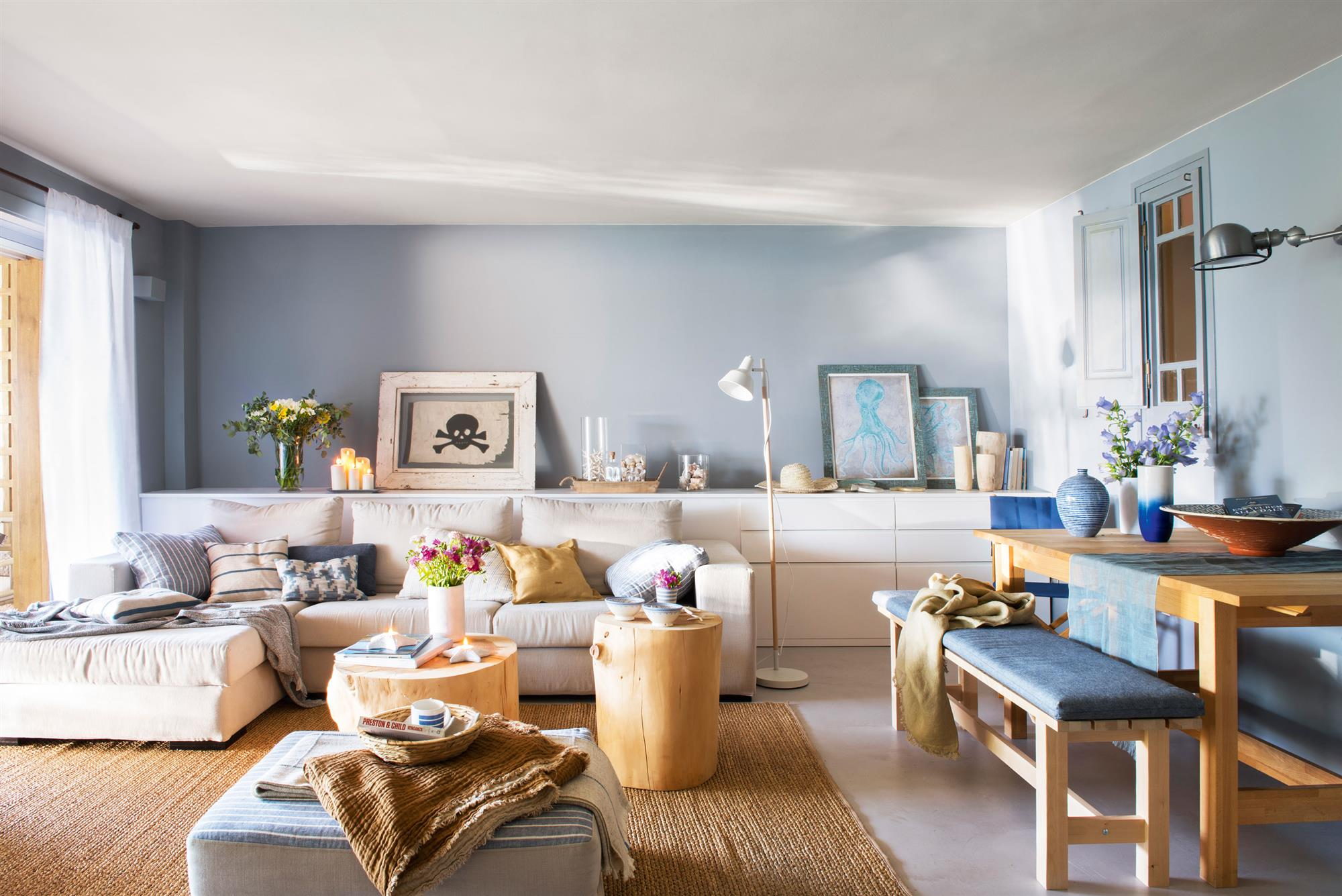 Salon En Tonos Azules. Colorterapia En Casa