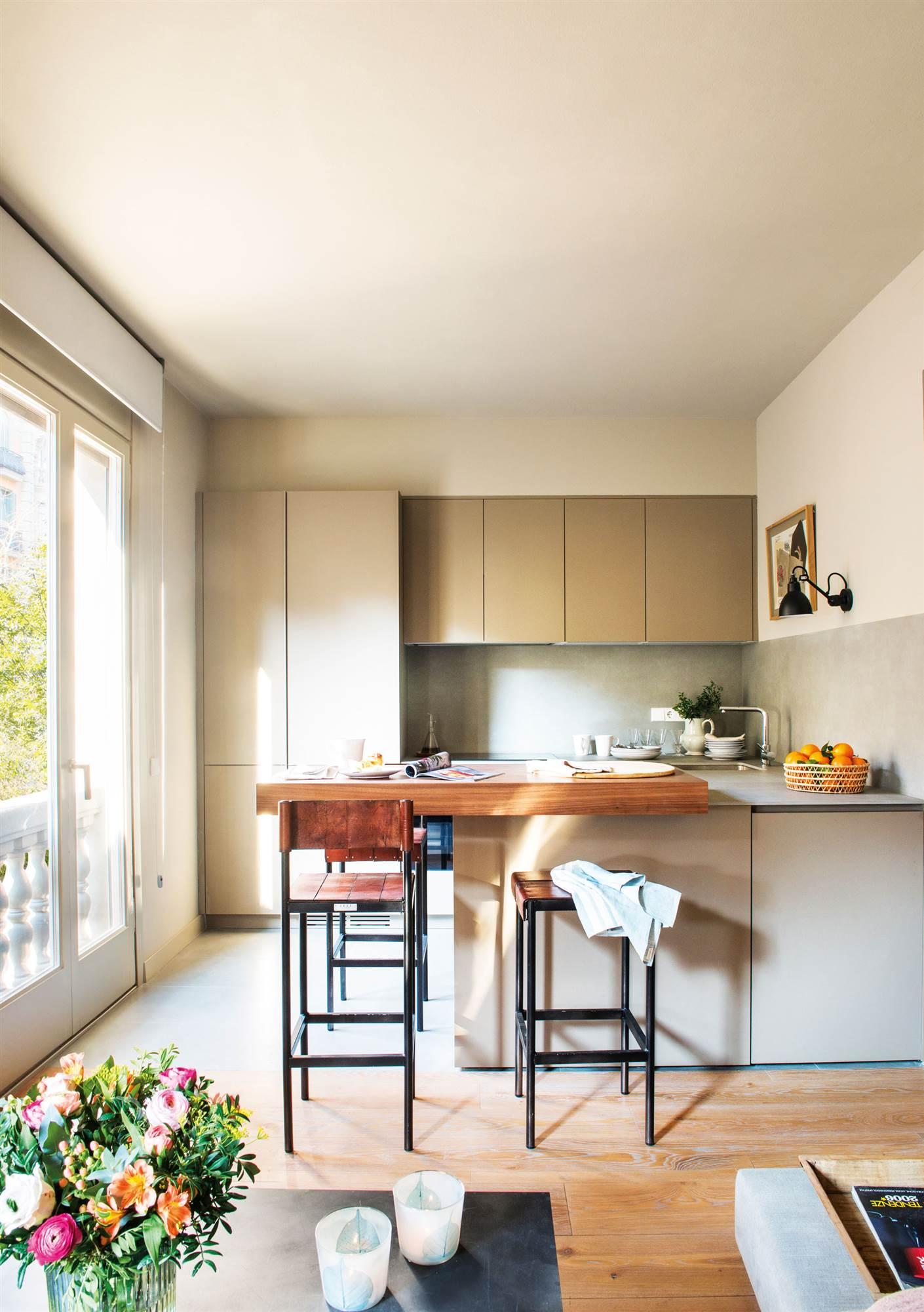 00469234. Cocina abierta al salón por una península. En colores verdes y madera 00469234