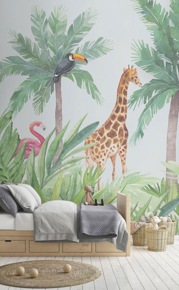 habitacion-infantil-papel-pintado-tropical. Tendencia tropical
