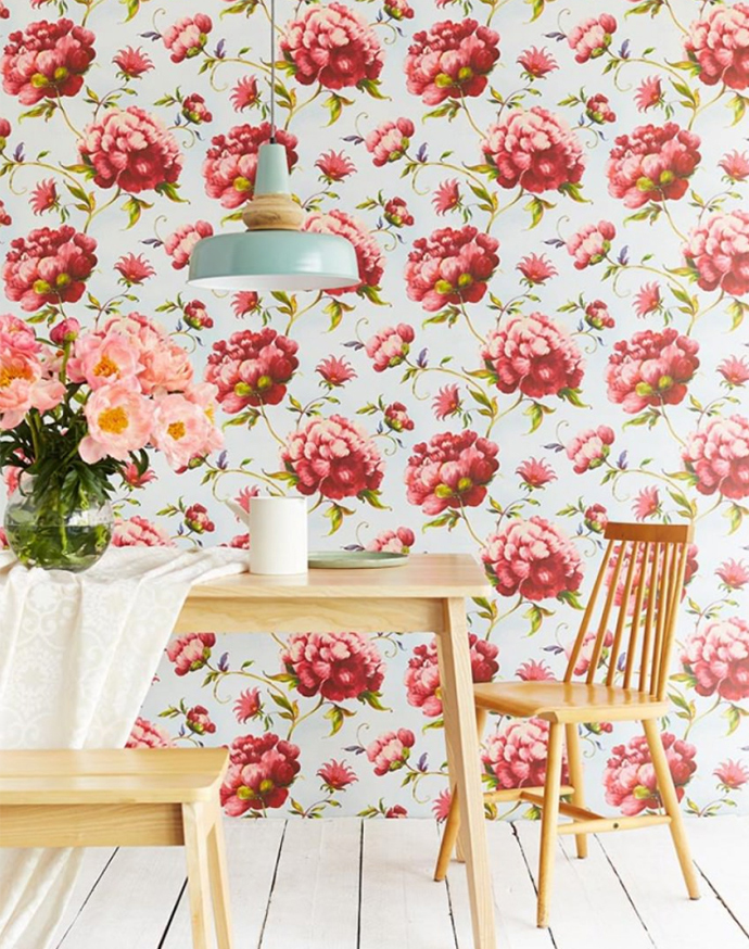 Flores xl una de las tendencias decorativas del 2018 for Comedor papel pintado