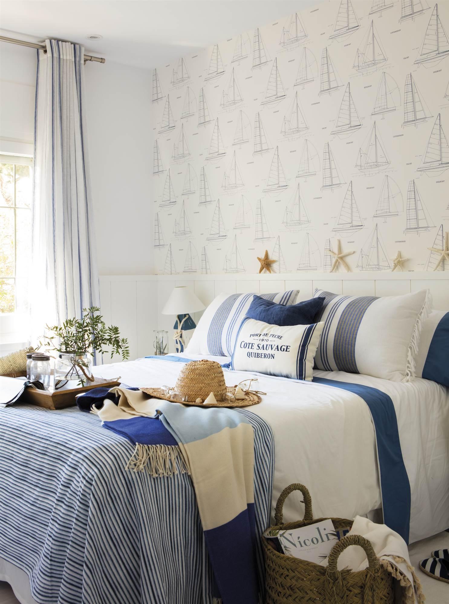 Cabeceros de cama originales - Papel pintado rojo y blanco ...
