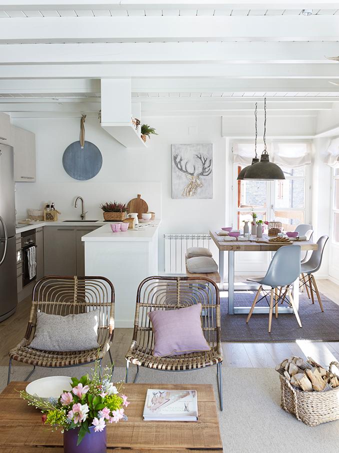 Ideas para tener una cocina abierta - Colores tierra para salon ...