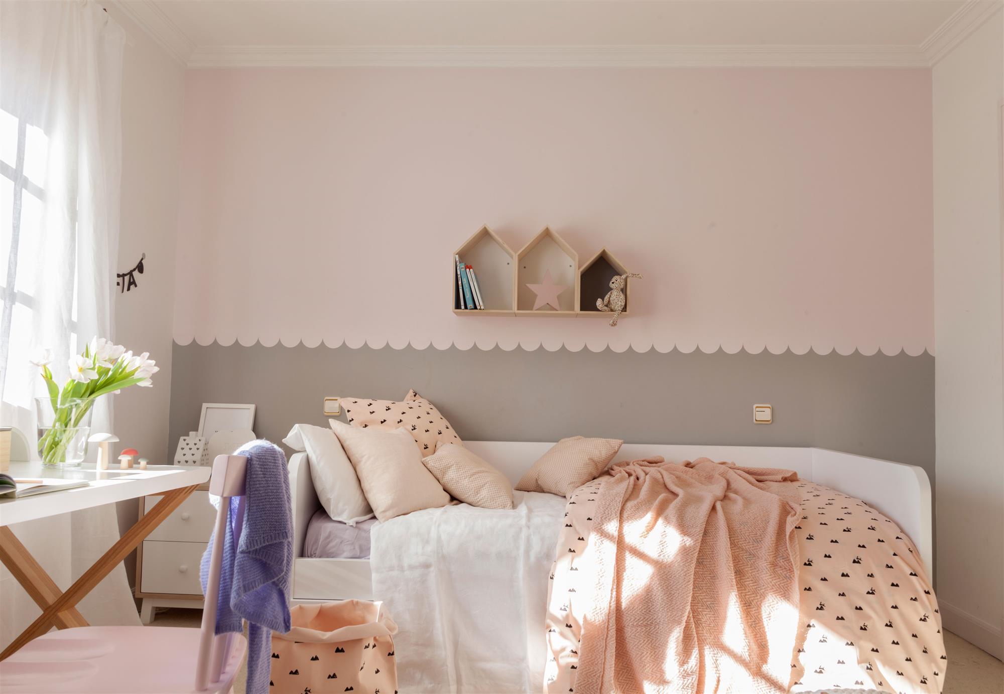 Pintar dormitorio infantil for Decoracion habitacion nina gris y rosa