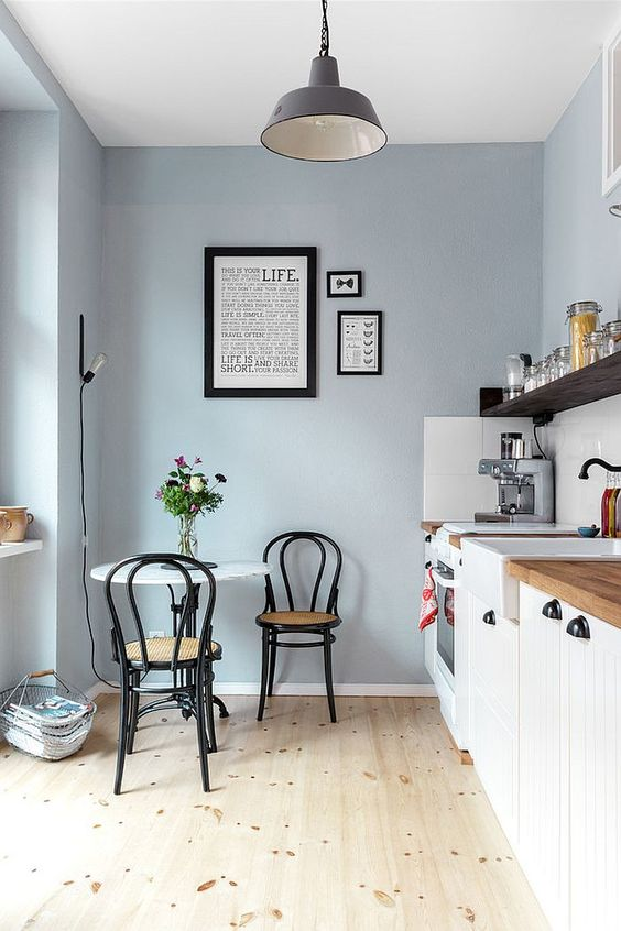 Los colores ideales para pintar tu cocina for Pintura cocina pato azul