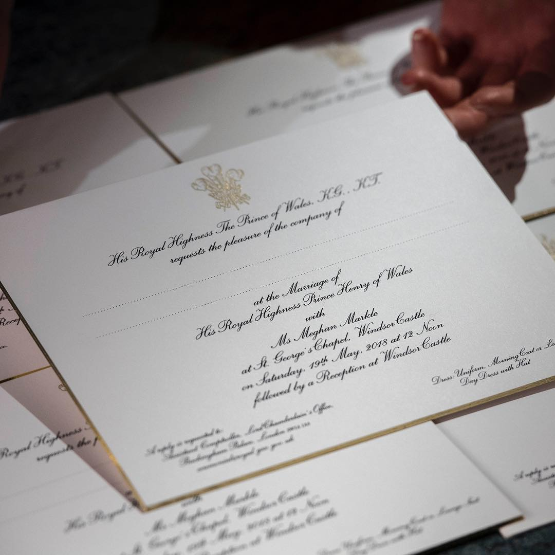Invitación boda Meghan Markle y Príncipe Harry. Invitaciones muy royal