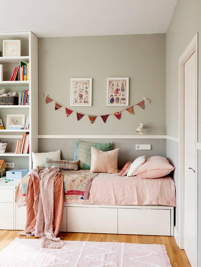 50 dormitorios de ni a de cuento for Decoracion habitacion nina gris y rosa