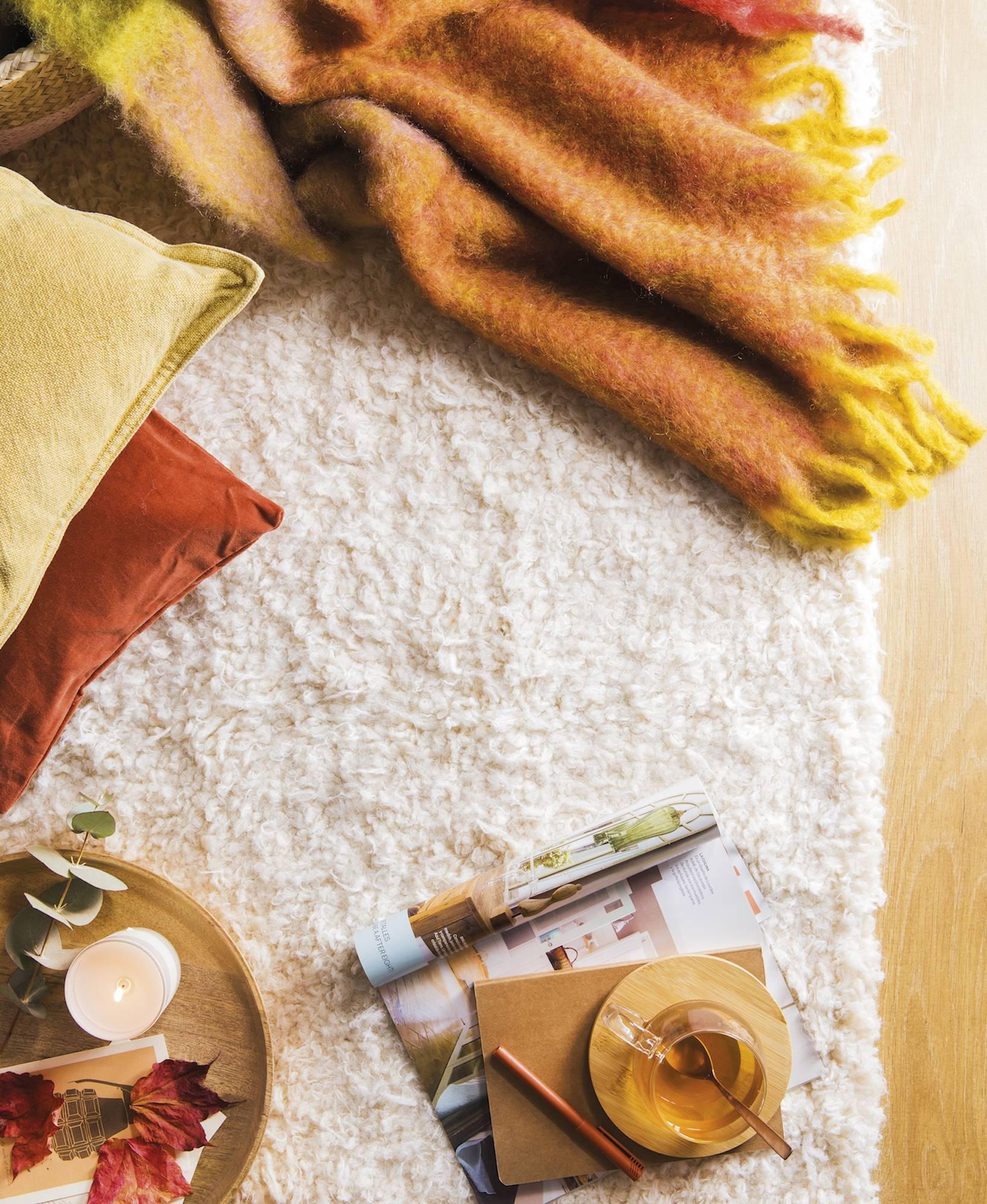 detalle de alfombra pelo largo con mantas y cojines 00471819. Alfombras  para pies calientes aa823d58db98