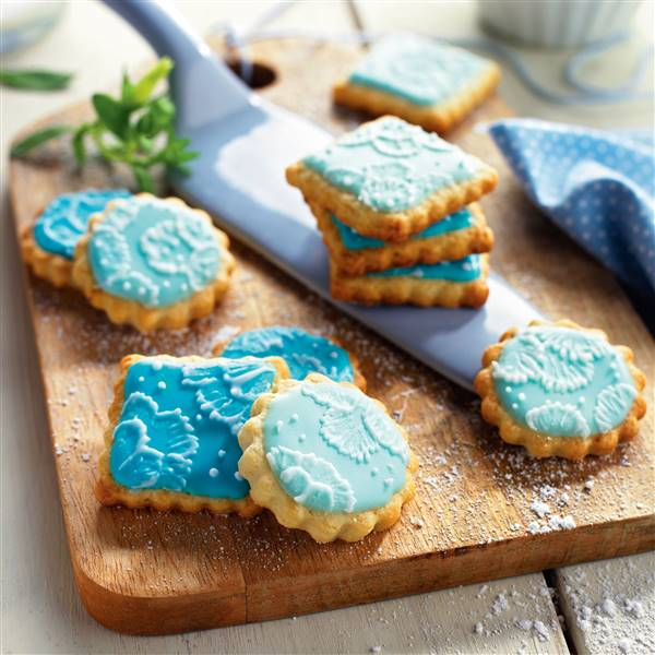 Galletas decoradas con glasa azul