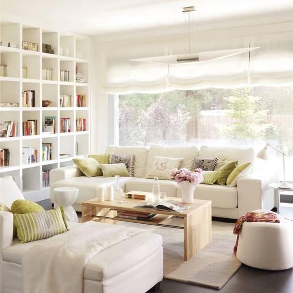Ideas para decorar espacios peque os y ganar espacio - Librerias salon blancas ...