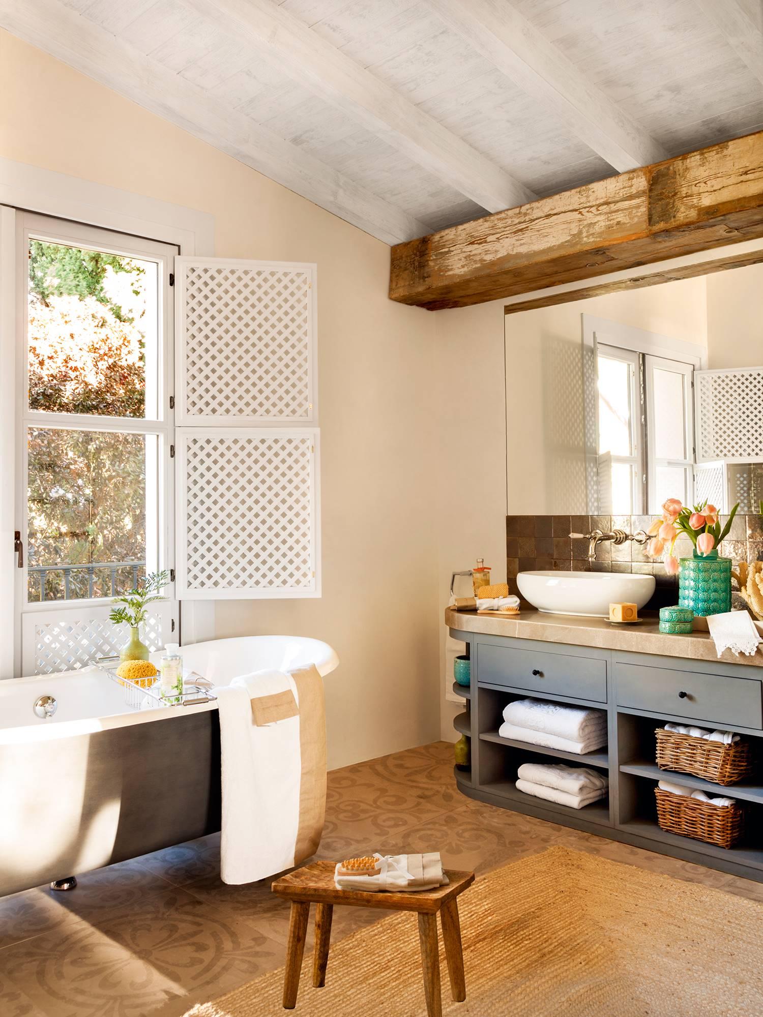 Los mejores 50 baños rústicos de El Mueble