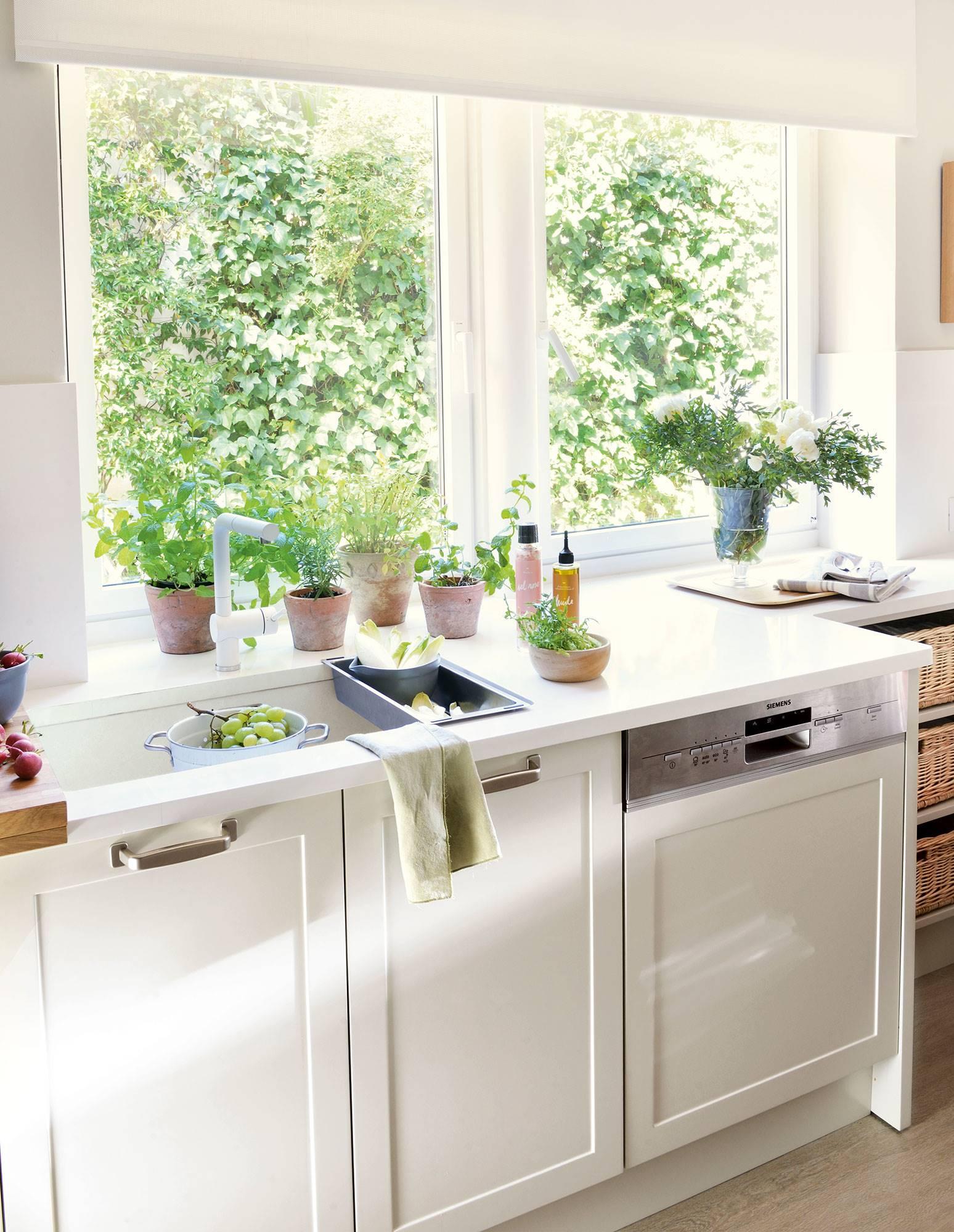 semitoma de cocina blanca con fregadero y lavavajillas