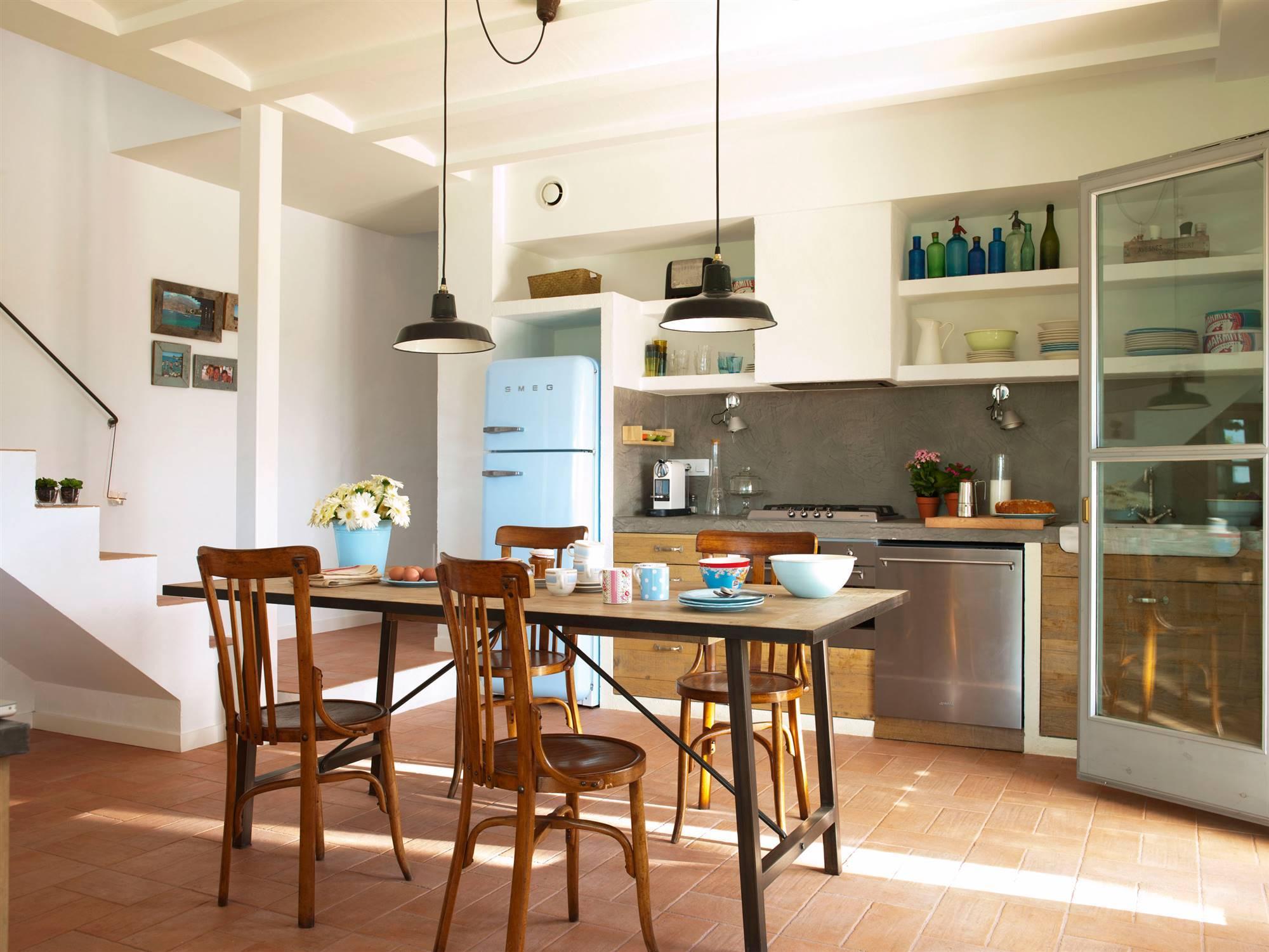 50 cocinas rústicas bonitas, con muebles vintage y mucho encanto